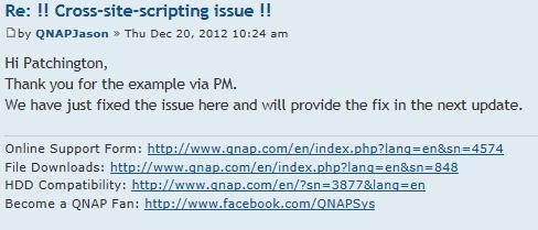 QNAP-Antwort